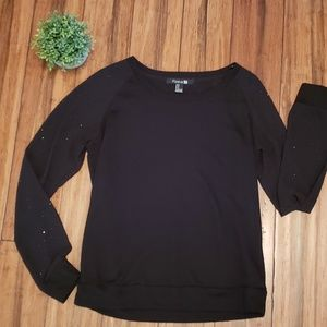 Forever 21 Black Sweatshirt with Jeweled Sleeves